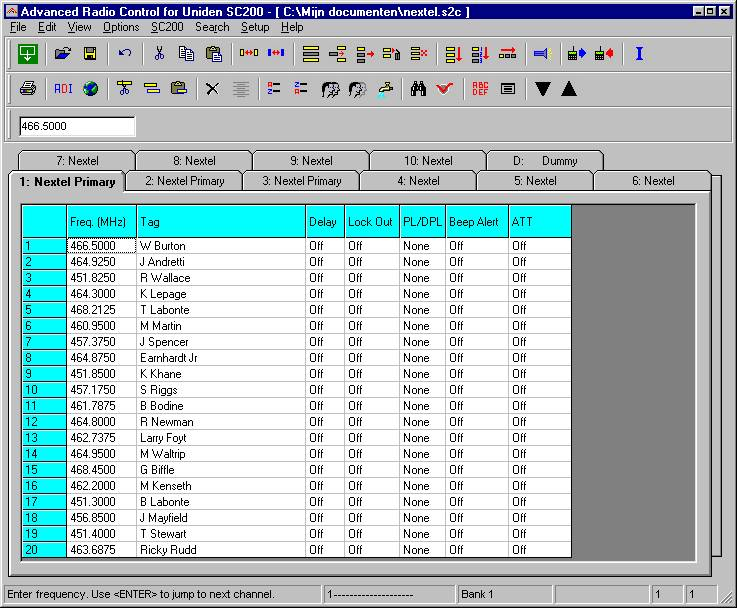 Free Scanner Frequency Numbers http://www.blackbagsoftware.com/Uniden-SC200-SportCat-Race-Scanner/index.html